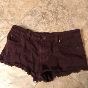 Forever 21 Distressed Maroon Jean Shorts
